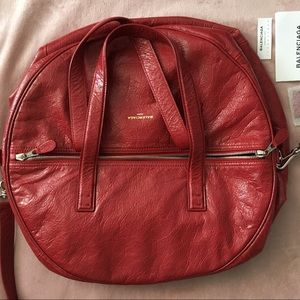 Balenciaga round leather crossbody bag NEW red